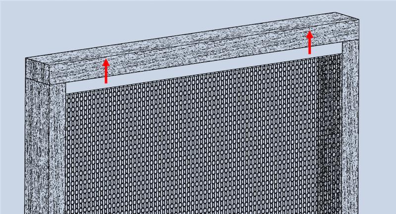 Grafik der Montageart Nr.2, wobei das Vorhangprofil des krismar Fliegenvorhangs mit 2 Winkelschrauben gegen oben im Türrahmen angebracht wird.