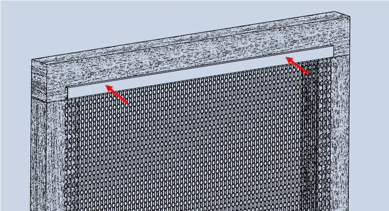 Grafik der Montageart Nr.3, wobei das Vorhangprofil des krismar Fliegenvorhangs mit 2 Rundkopfschrauben frontal auf dem Türrahmen oder der Fassade angebracht wird.