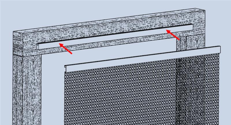 Grafik der Montageart Nr.4, wobei ein zusätzliches Trägerprofil am Türrahmen aufgeklebt und das Vorhangprofil des krismar Fliegenvorhangs in diesem eingehängt wird.