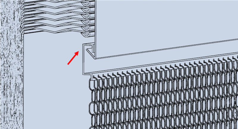 Grafik der Montageart Nr.5, wobei das Vorhangprofil des krismar Fliegenvorhangs in einer bestehenden Storenkastenblende eingehängt wird.